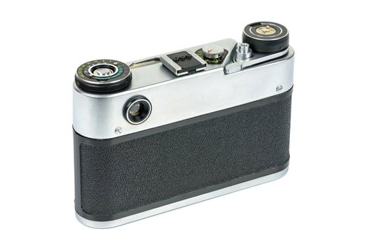 Rear view of vintage analog camera isolated on white background with clipping path
