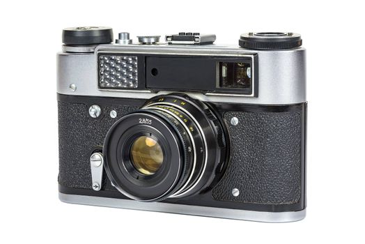 Front view of vintage analog camera isolated on white background with clipping path