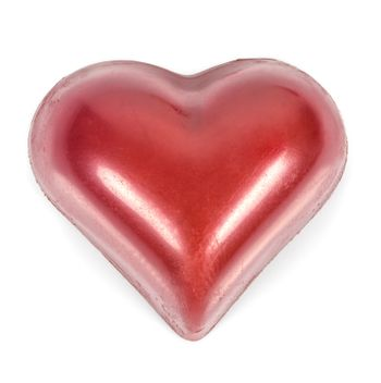 Red heart shaped chocolates isolated on white background with clipping path