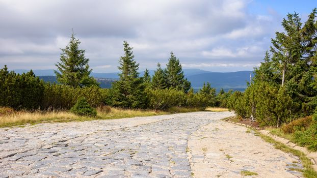 Panoramic view of main mountain trail in Giant Mountains on the border between Poland and Czech Republic
