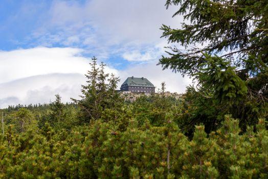 View of shelter on Szrenica Mountain in polish Giant Mountains
