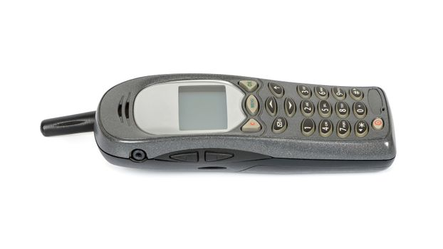 Old mobile phone isolated on white background with clipping path
