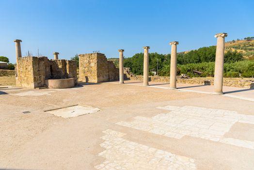 Colonnade on the courtyard of the Villa Romana Del Casale, Sicily, Italy