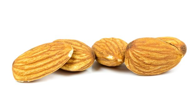 Almond nuts isolated on white background with clipping path