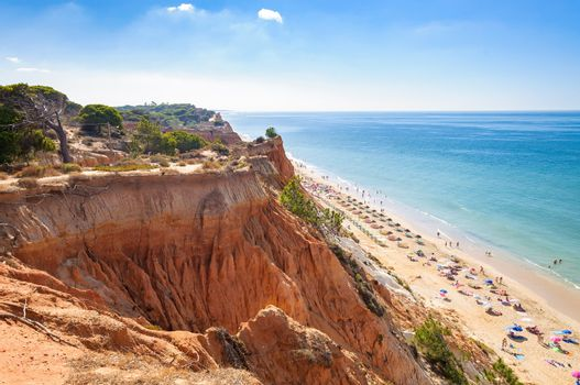 Beautiful Falesia Beach in Portugal seen from the cliff