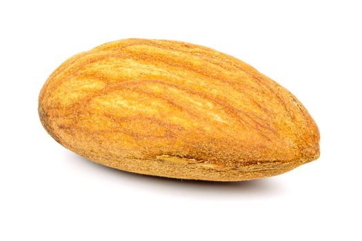 Single almond nut isolated on white background with clipping path