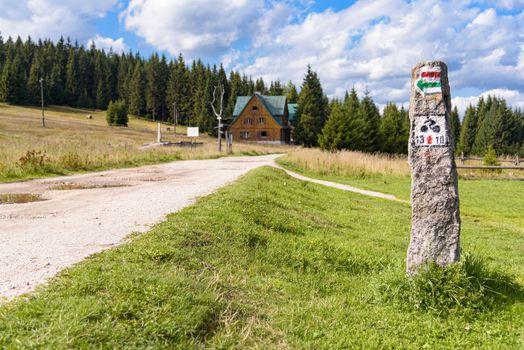 Sign of bike trail in Jizera Mountains in Poland