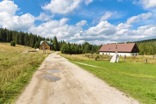 Houses of the old settlement of Orle in the Jizera Mountains in Poland