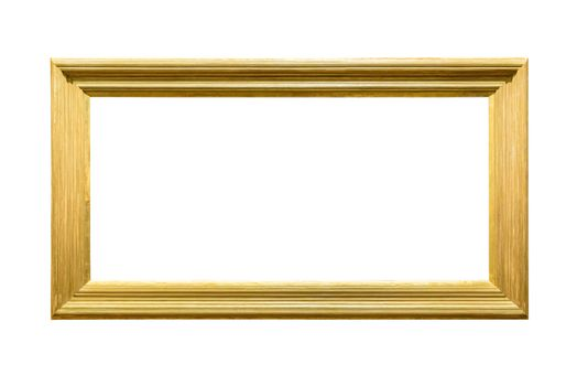 Landscape golden decorative picture frame isolated on white background with clipping path