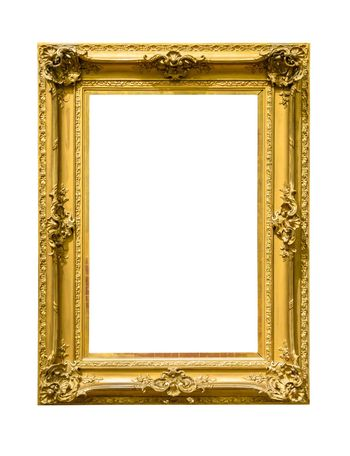 Portrait golden decorative picture frame isolated on white background with clipping path