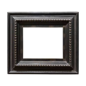 Square wooden decorative picture frame isolated on white background with clipping path