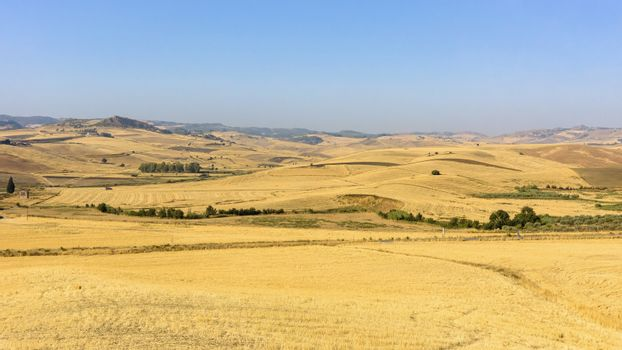 View of summer countryside landscape of Sicily, Italy