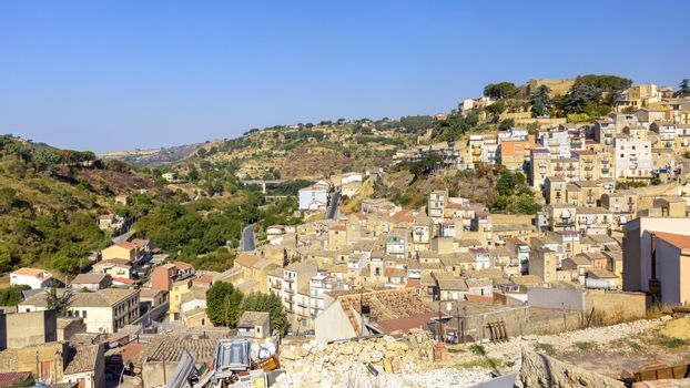 Panoramic view of Piazza Armerina town on Sicily, Italy