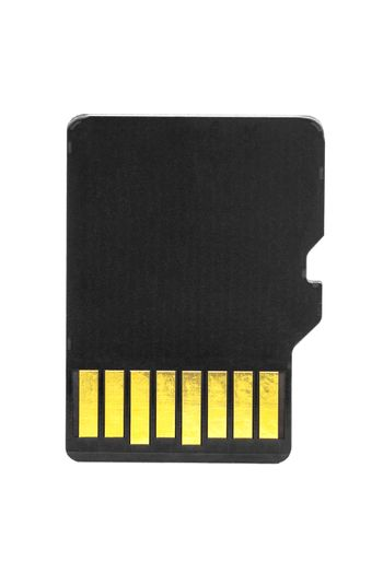 Blank micro SD memory card isolated on white background with clipping path