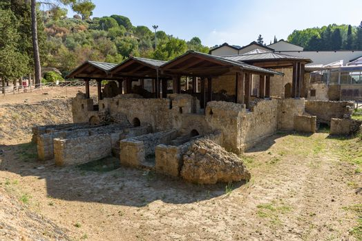 Ruins of the ancient Villa del Casale near Piazza Armerina town with one of richest and larges collections of Roman mosaics in world