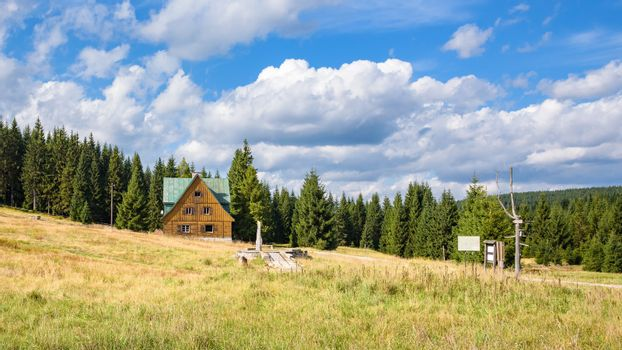 House of the old settlement of Orle in the Jizera Mountains in Poland