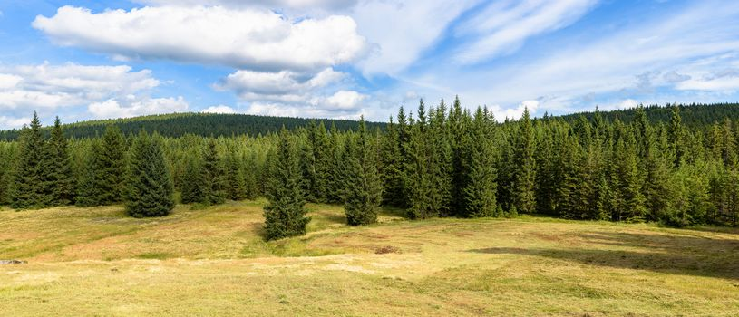 Panoramic summer view of Jizera Mountains landscape in southern Poland