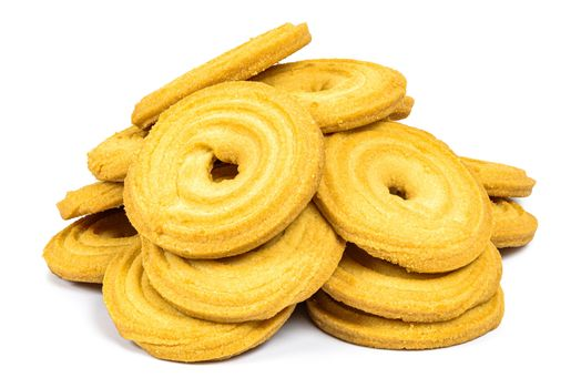 Heap of butter cookies isolated on white background with clipping path