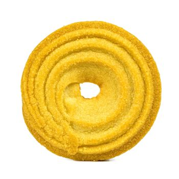 Single butter cookie isolated on white background with clipping path