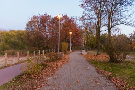 Alley and bicycle path at Pogoria III lake in Dabrowa Gornicza at dusk