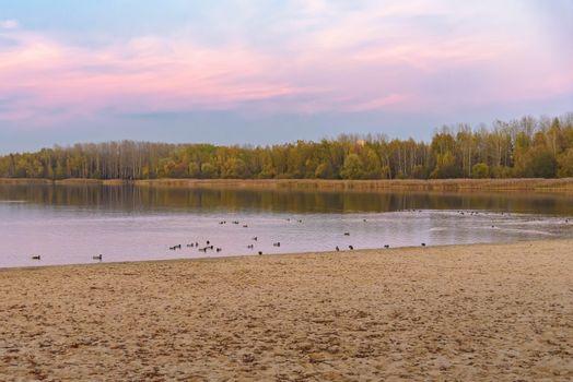 Evening autumn of Pogoria III lake in Dabrowa G�rnicza, Poland