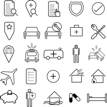 Flat and thin line icons set, insurance icon, vector illustration