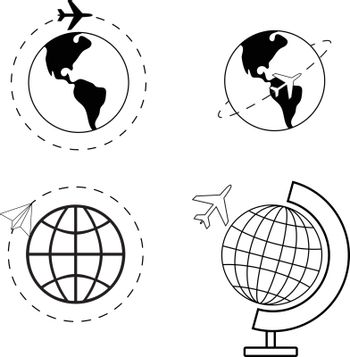 Airplane flying around world image pack, vector illustration