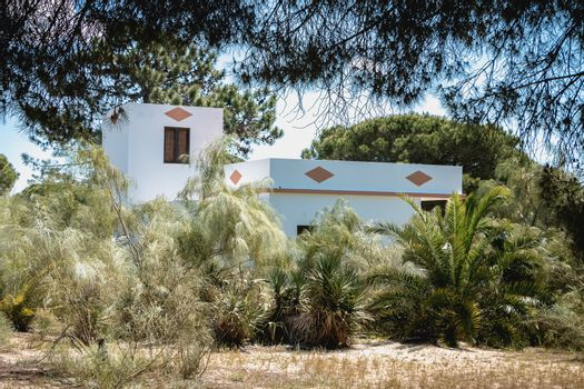 ilha de tavira, portugal - may 3, 2018: architectural detail of a typical small island house on a spring day