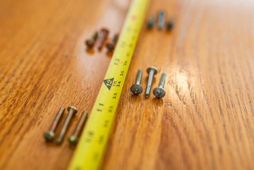 Screws and a tape measure