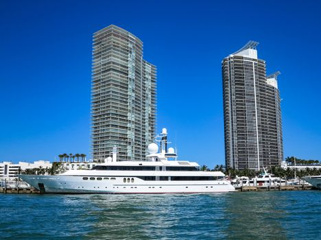 Yacht and Modern Buildings