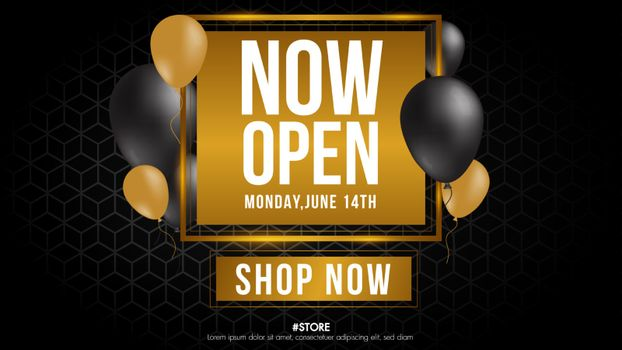 Now open shop or new store gold and grey color luxury sign on black background.Template design crown and falling gold confetti and balloons for opening event.Can be used for poster ,flyer , banner.