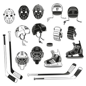 Hockey items as black silhouettes.