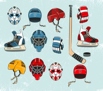 Hockey objects painted in a realistic style cartoon and brightly colored. Hockey equipment on the ice. Ice texture grouped separately and can be easily removed.