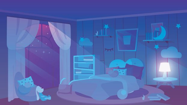 Kids bedroom night time view flat vector illustration. Soft toy, books and cushions lying on floor. Trendy wallpapers with picture, bookshelves, lampshade. Modern girlish bed with blanket