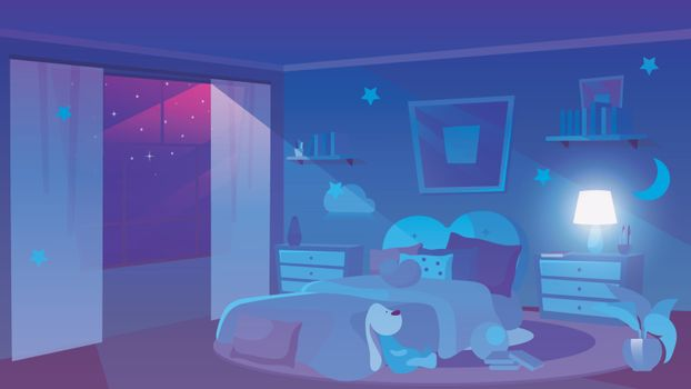 Child bedroom night time view flat vector illustration. Stars in dark violet sky in panoramic window. Girlish room interior with soft toy, decorative clouds on walls. Bedside tables with vase, lamp