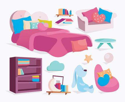 Bedroom furniture flat vector illustrations set. Girlish bed, sofa, armchair with pillows stickers, cliparts pack. Bookcase, bookshelf, plant, lamp isolated cartoon illustrations on white background