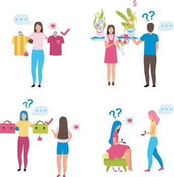 Buyers choosing goods flat vector illustrations set. Shop assist