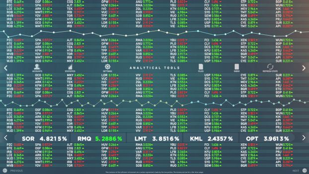 Mock up of stock market software animation. Loopable file
