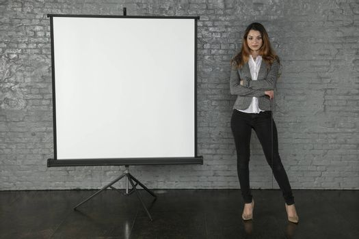 business woman during a presentation, different situations