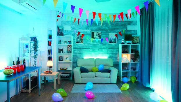 Room with nobody in it decorate for the party