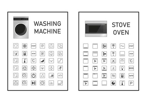 Oven and washing machine functions and settings icon set. Manual symbol collection. Vector graphic illustration set icon