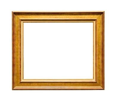 Wooden decorative picture frame with golden insets isolated on white background with clipping path