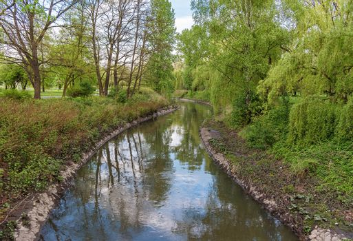 Spring view of Przemsza river in Sielecki Park in Sosnowiec