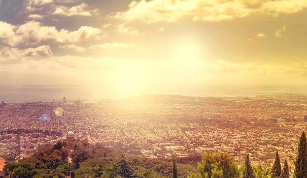 sun Barcelona skyline Cityscape