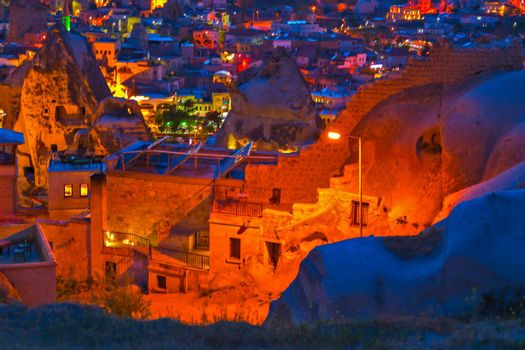 night in Goreme, Cappadocia. Countryside lifestyle, landscape Cappadocia Turkey. Travel background