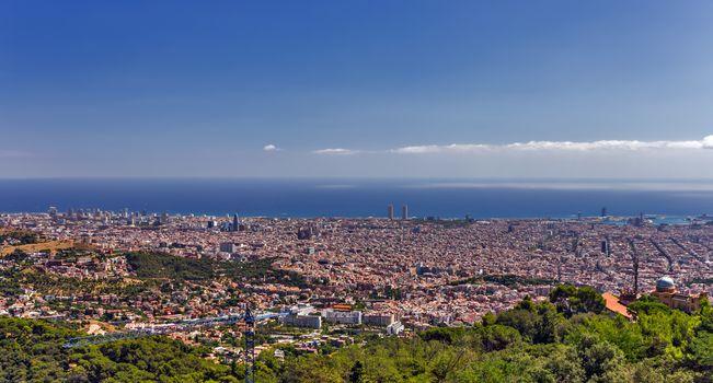 Barcelona skyline Cityscape Aerial view