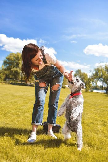 Caucasian woman trains and feeds her beloved dog in the park.