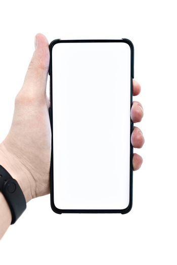 Mobile smartphone with a white display with a white background and copy space. People are showing cell phones