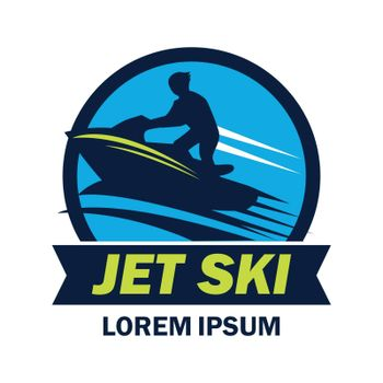 jet ski logo with text space for your slogan / tag line, vector illustration