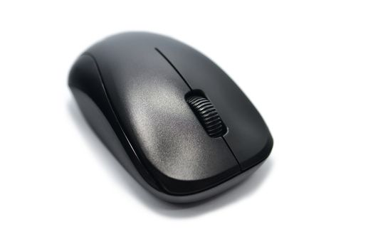 black wireless computer mouse top view isolated on white background